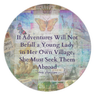 Jane Austen travel adventure quote Party Plate
