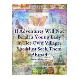 Jane Austen travel adventure quote Personalized Letterhead