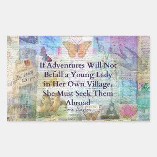 Jane Austen travel adventure quote Sticker