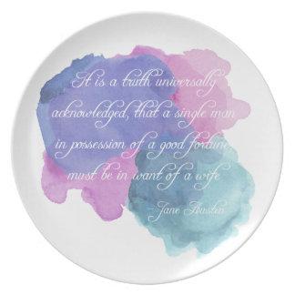 Jane Austen- Truth Universally Acknowledged Plates