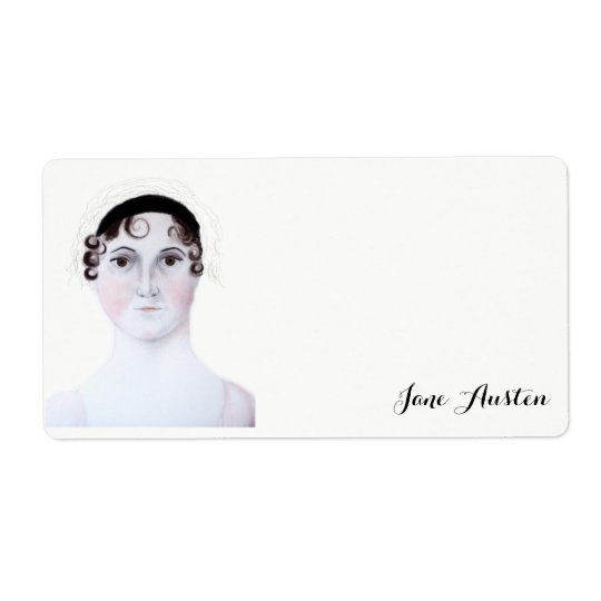 Jane Austen watercolor portrait Shipping Label.