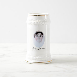Jane Austen Watercolor White/Gold 22 oz Stein