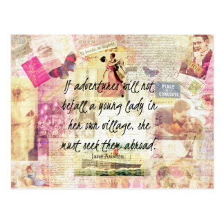 Jane Austen whimsical cute travel quote Postcard