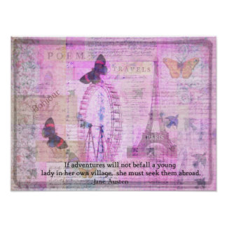 Jane Austen whimsical Travel quotation Poster