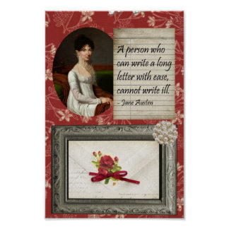 Jane Austen Writing Inspired Print