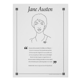 Jane Austen Writing Quote Poster