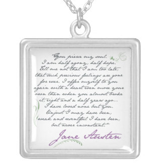 Jane Austen's Persuasion Quote #1 Silver Plated Necklace