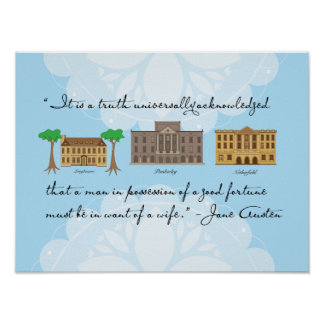 Jane Austen's Pride and Prejudice Houses Poster