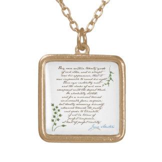 Jane Austen's Pride & Prejudice Quote #1 Gold Plated Necklace