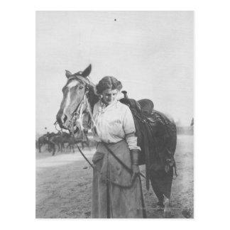 Jane Bernoudi and her horse Postcard