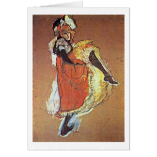 Jane Dancing Study By Henri De Toulouse-Lautrec Card