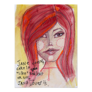 Jane Likes Red Hair Poster