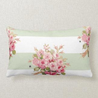 Jane's Rose Bouquet basil stripe lumbar pillow