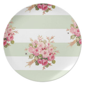 Jane's Rose Bouquet basil stripe plate