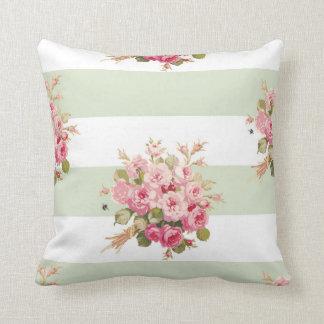 Jane's Rose Bouquet basil stripe square pillow
