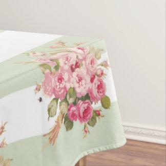 Jane's Rose Bouquet basil stripe tablecloth
