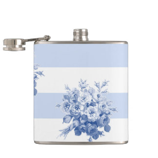 Jane's Rose Bouquet blueberry stripe flask