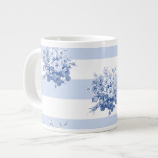 Jane's Rose Bouquet blueberry stripe jumbo mug