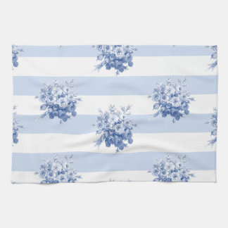 Jane's Rose Bouquet blueberry stripe kitchen towel