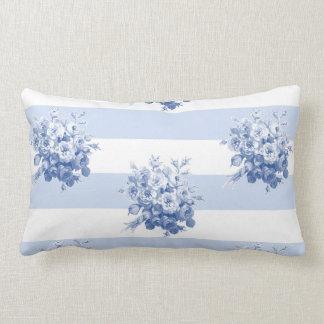 Jane's Rose Bouquet blueberry stripe lumbar pillow