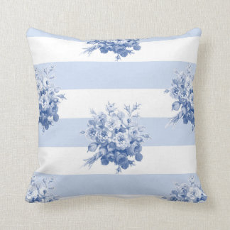 Jane's Rose Bouquet blueberry stripe pillow