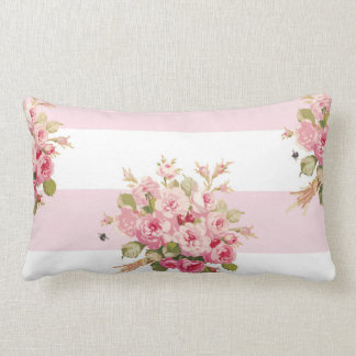 Jane's Rose Bouquet peony stripe lumbar pillow