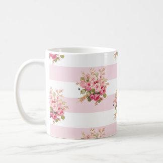 Jane's Rose Bouquet peony stripe mug