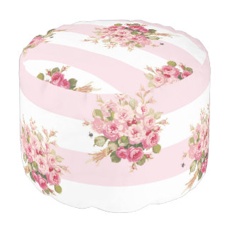 Jane's Rose Bouquet peony stripe pouf