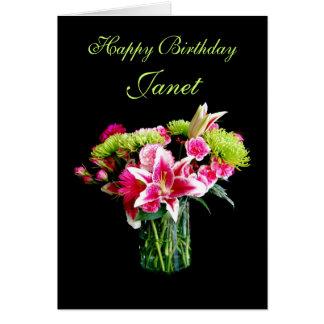 Janet Happy Birthday, Stargazer Lily Bouquet Card