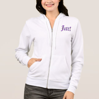 Janet, Name, Logo, Ladies White Zipper Hoodie