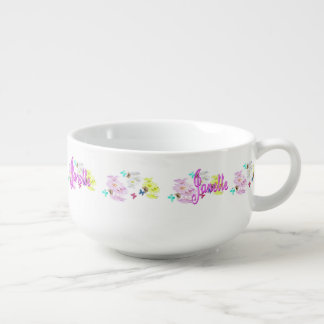 Janette Logo With Kittens Flowers Butterflies, Soup Mug