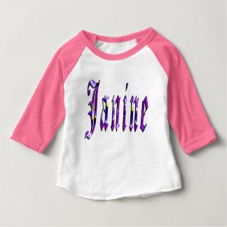 Janine, Name, Logo, Baby Girls Pink Raglan T-shirt