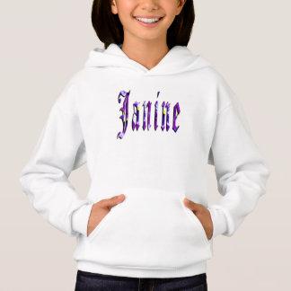 Janine, Name, Logo, Girls White Hoodie