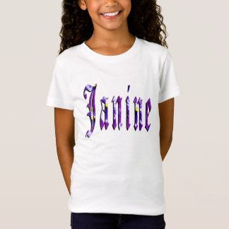 Janine, Name, Logo, Girls White T-shirt