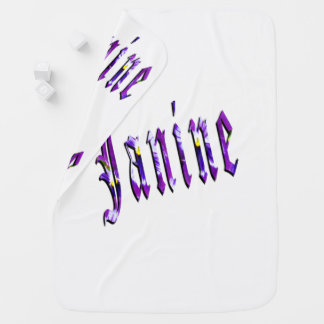 Janine, Name, Logo, White Snugly Baby Blanket. Baby Blanket