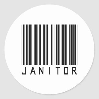 Janitor Bar Code Classic Round Sticker