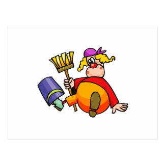 Janitor Clown Postcard