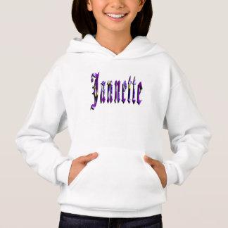 Jannette, Name, Logo, Girls White Comfort Hoodie
