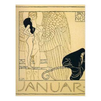 Januar by Gustav Klimt Postcard