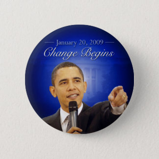 January 20: Change Begins Obama Inauguration Butto 2 Inch Round Button