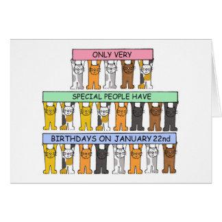 January 22nd Birthday Cats Card