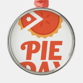 January 23rd - Pie Day - Appreciation Day Silver-Colored Round Ornament
