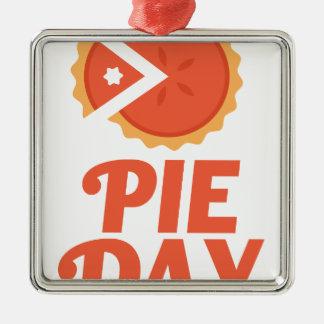 January 23rd - Pie Day - Appreciation Day Silver-Colored Square Ornament