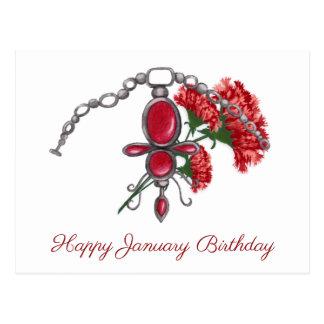 January Birthstone and Flower, Garnet & Carnation Postcard