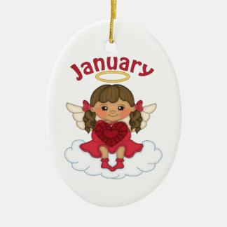 January Birthstone Angel Brunette Ceramic Oval Ornament