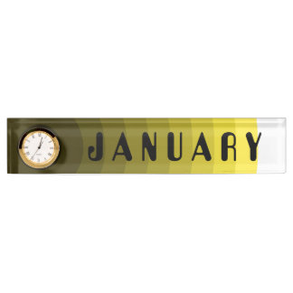 January Desk Nameplate by Janz with Clock