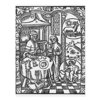 January, from the 'Almanach des Bergers', 1491 Postcard