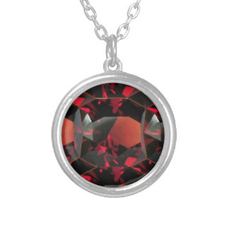 JANUARY GARNET GEMSTONE DESIGN SILVER PLATED NECKLACE
