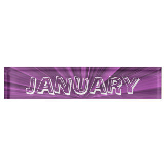January Magenta Star Desk Nameplate