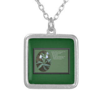 January Snowdrop with Verse Silver Plated Necklace
